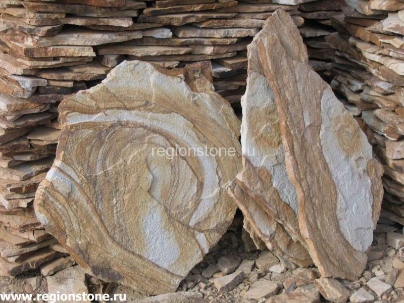 Камень песчаник желтый с разводом